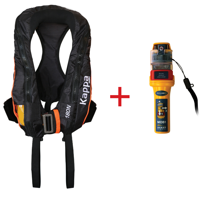 Kappa Inflatable Lifejacket Auto, 180N, ISO 12402-3  with Ocean Signal MOB1, set image